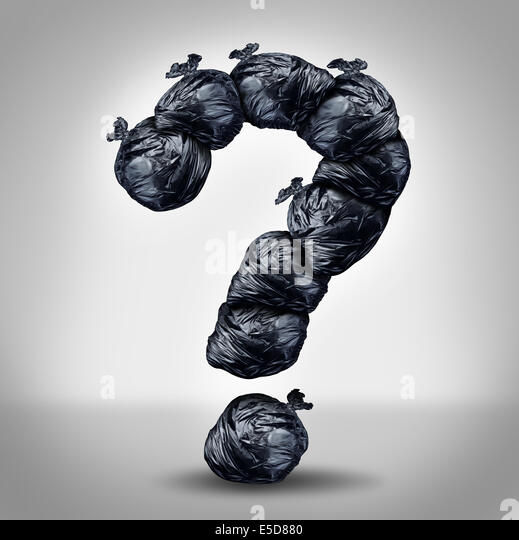 Garbage questions with a group of trash bags shaped as a question mark as a symbol of waste management and environmental - Stock Image