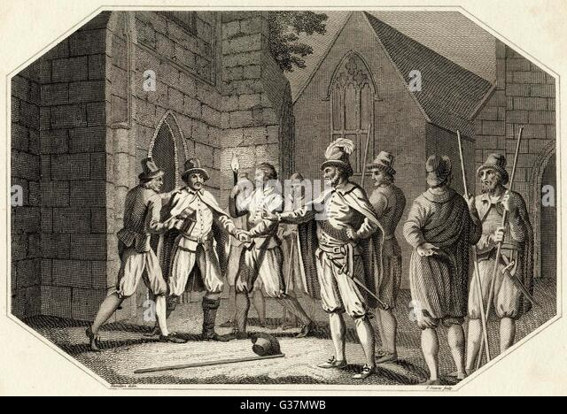 Thomas Knevet apprehends Guy  Fawkes         Date: 1605 - Stock Image