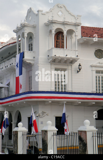 Panama City Panama Casco Viejo San Felipe colonial historic World Heritage Site Presidential Palace 1673 Palacio - Stock Image