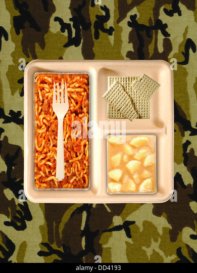 Military food rations or MRE Meals Ready to Eat on a camouflaged background.Packages open with plastic utensils. - Stock Image