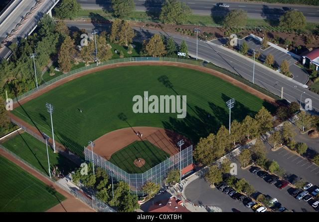 aerial view above baseball diamond Davis California - Stock Image