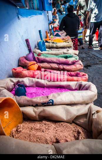 Color pigments in the blue medina of Chefchaouen, Morocco - Stock Image