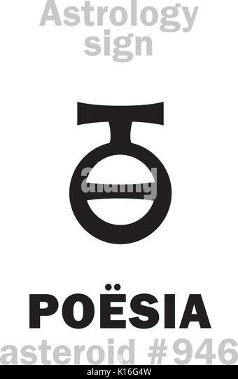 Astrology Alphabet: POËSIA («Poetic Mead»), asteroid #946. Hieroglyphics character sign (single symbol). - Stock Image
