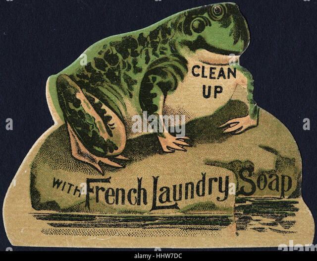 Clean up with French Laundry soap. [front]  - Laundry Trade Cards - Stock Image