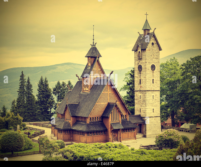 Old, wooden, temple Wang in Karpacz, Poland, vintage style. - Stock-Bilder