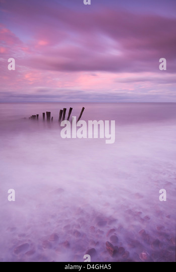 Wooden posts at high tide on Porlock Beach, Exmoor, Somerset. - Stock Image