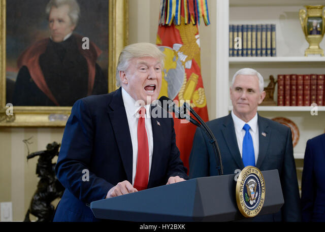 Washington DC, USA. 31st March, 2017. United States President Donald Trump speaks about trade as Vice President - Stock Image