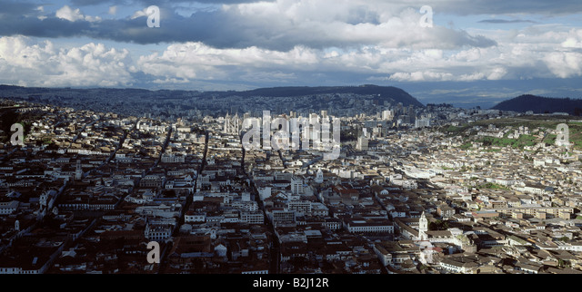 geography / travel, Ecuador, Quito, overviews, overview, view, panorama, clouds, - Stock Image