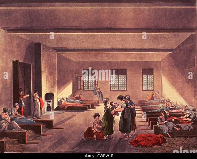 Detention room in London's Bridewell Hospital, for homeless, impoverished, and probably single or unwed mothers. - Stock-Bilder