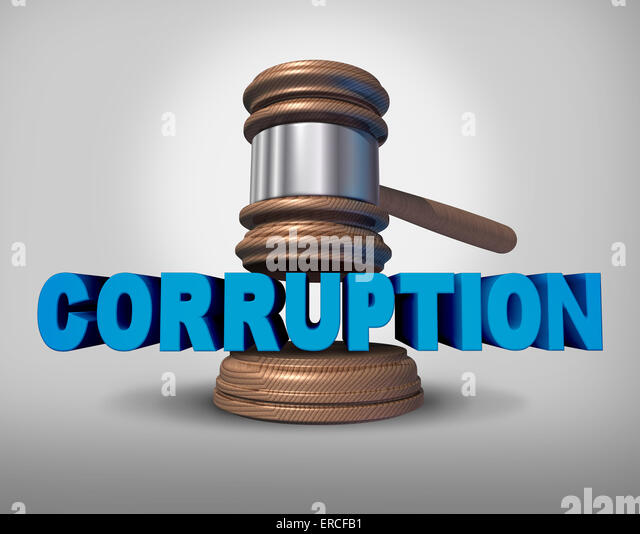 Corruption concept as a justice judge gavel or mallet coming down on the words that represent the criminal act of - Stock-Bilder