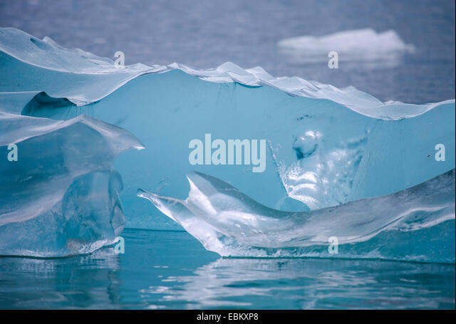 glacier ice weirdly shaped, Norway, Svalbard, Hamiltonbukta - Stock Image