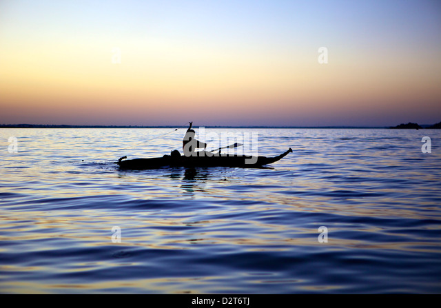 Fisherman in a papyrus boat, Lake Tana, Ethiopia, Africa - Stock Image