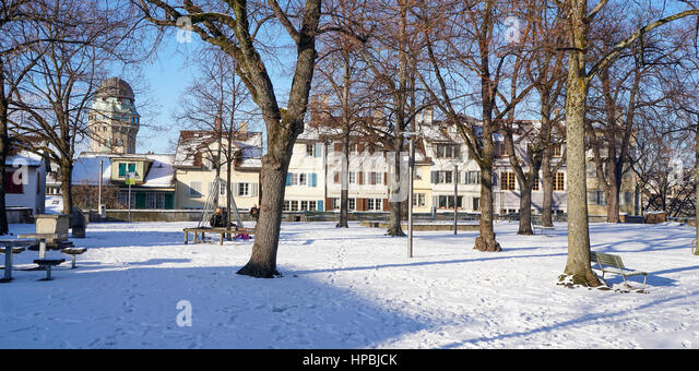 Lindenhof, winter, snow, Zurich, Switzerland - Stock Image