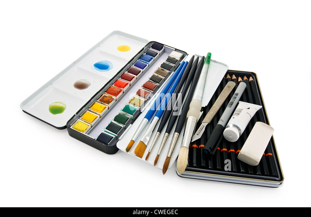 Artists watercolor paint brushes, paints and equipment - Stock-Bilder