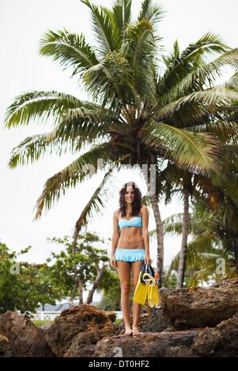 Samana Peninsula Dominican Republic. woman wearing snorkel gear Dominican Republic - Stock Image
