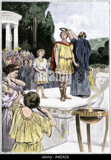 Crowning an Olympic winner with laurel ancient Greece - Stock Image