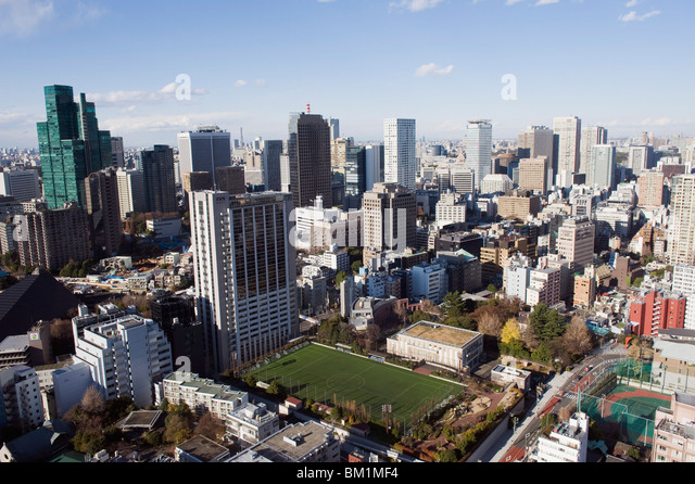 Central Tokyo city skyline view from Tokyo Tower, Tokyo, Japan, Asia - Stock Image