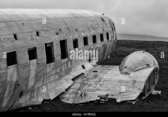 Picture of the crashed DC-3 airplane at the beach of Sandur at Iceland - Stock Image