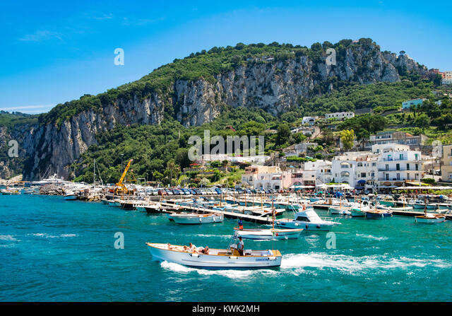 summertime at marina grande on the island of capri, italy. - Stock Image