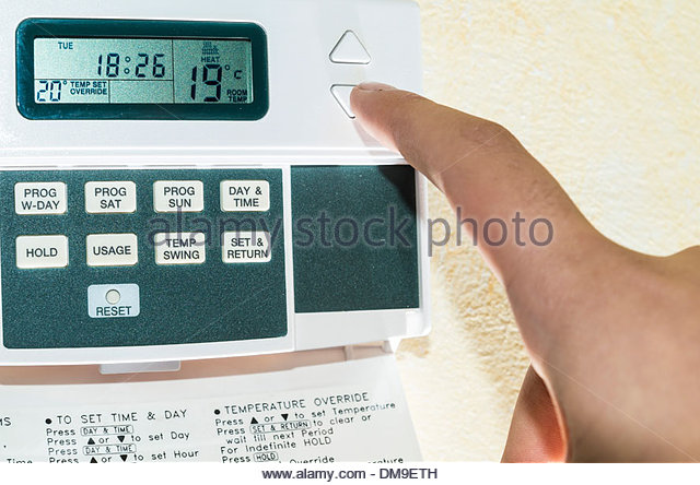Programmable thermostat - Stock Image
