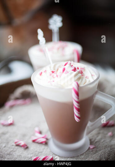 Hot Chocolate with cream and crushed candy canes - Stock Image