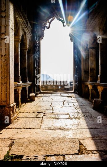 Bundi Palace doors at sunrise, India - Stock-Bilder