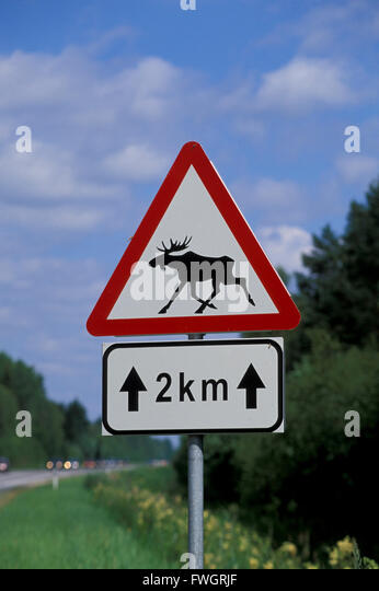 Elk warning traffic sign, Estonia, Europe - Stock-Bilder