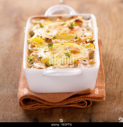 potato and goat's cheese bake (topic: bakes) - Stock Image