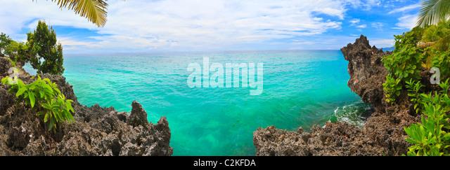 Panorama of tropical lagoon. Bohol. Philippines - Stock Image