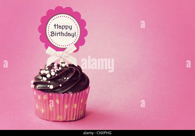 Birthday cupcake - Stock Image
