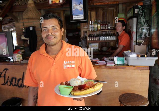Managua Nicaragua El Malecon Puerto Salvador Allende Lake Xolotlan inland port recreational area Asados Horsan restaurant - Stock Image
