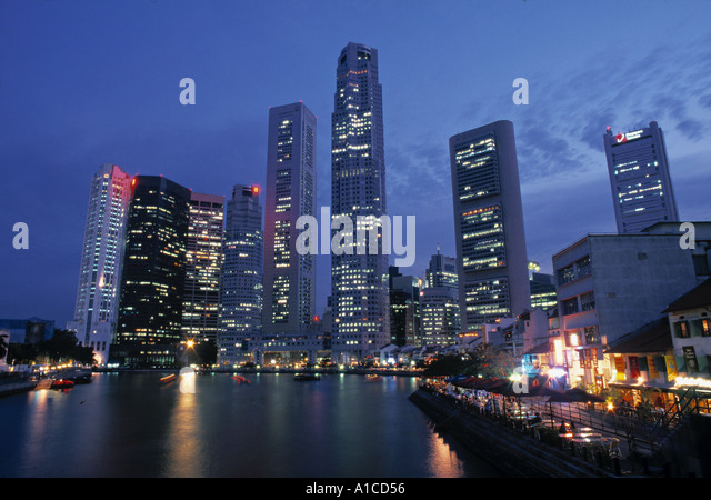 Financial District & Boat Quay, Singapore - Stock Image