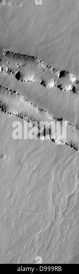 The two depression crossing this image are called Pavonis Fossae and are located just north of the volcano. - Stock Image
