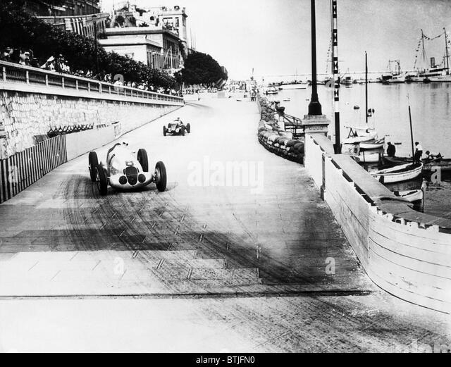 Rudolf Carraciola leads Hans Stuck in a road race trial for the Grand Prix de Monaco in Monte Carlo, 1937. Courtesy: - Stock Image