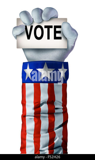 American election hand concept with an arm wearing an United States flag jacket  holding a card with the word vote - Stock-Bilder