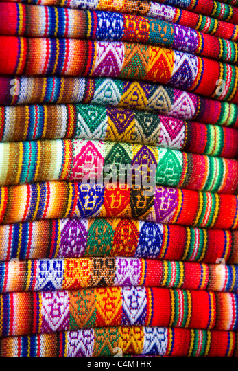 Textiles being sold at a market in Lima, Peru. - Stock-Bilder
