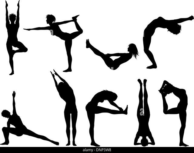 Silhouettes of females in various yoga poses - Stock-Bilder