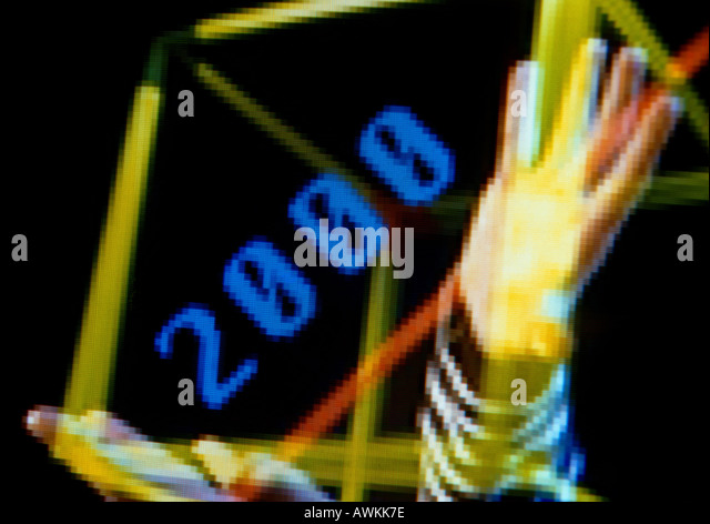 2000 and person's hand - Stock Image