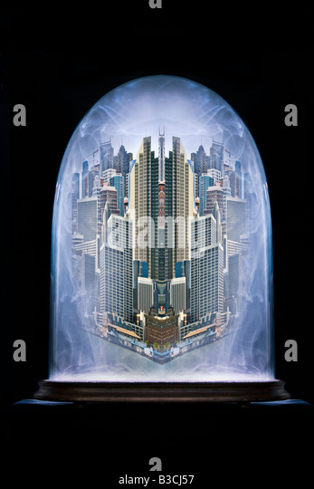 cityscape trapped inside a glass dome with polluted air - Stock Image