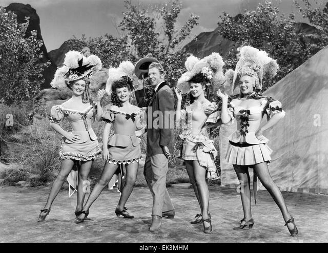Dan Dailey with Chorus Girls Marion Marshall Joyce Mackenzie Barbara Smith Marilyn Monroe on-set of the Film 'A - Stock Image