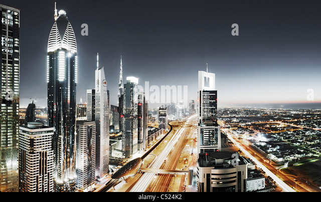 Evening at the Persian Gulf, traffic, city, downtown Dubai, Dubai, United Arab Emirates, Middle East - Stock-Bilder