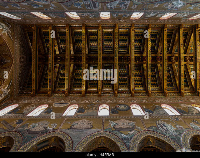 Ceiling of the Cathedral of Monreale, one of the greatest examples of Norman architecture in the world - Stock Image