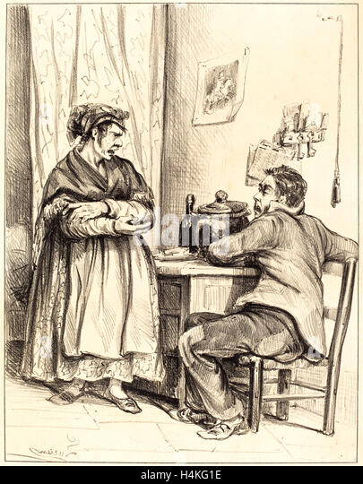 Lucien, Domestic Dispute, French, active mid 19th century, lithograph - Stock-Bilder