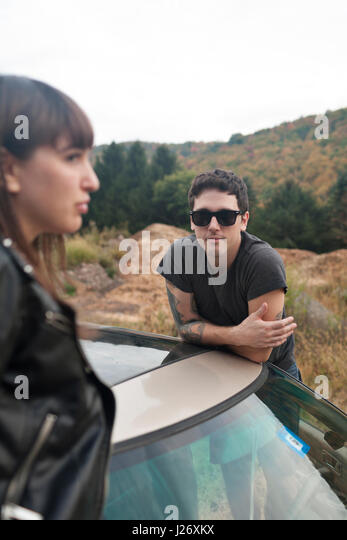 Young couple on a road trip - Stock Image