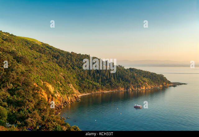 View from the top of mountains of Buyukada island, one of the Princess Islands (Adalar), Marmara Sea, Istanbul, - Stock Image