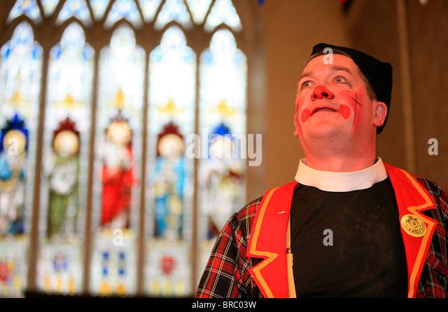 Annual Grimaldi clown service in London, England, UK - Stock Image