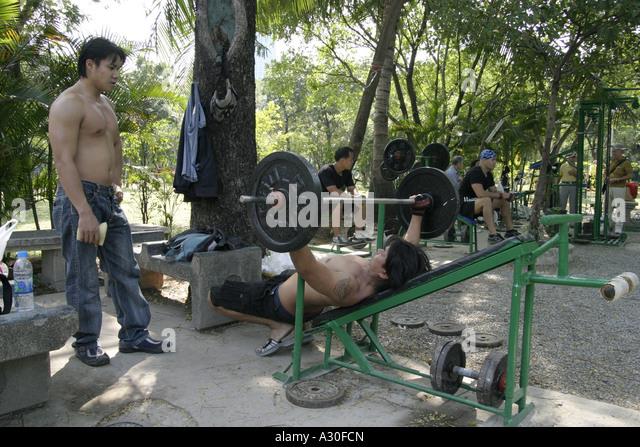 Weight Training In Lumpini Park Stock Photos & Weight ...