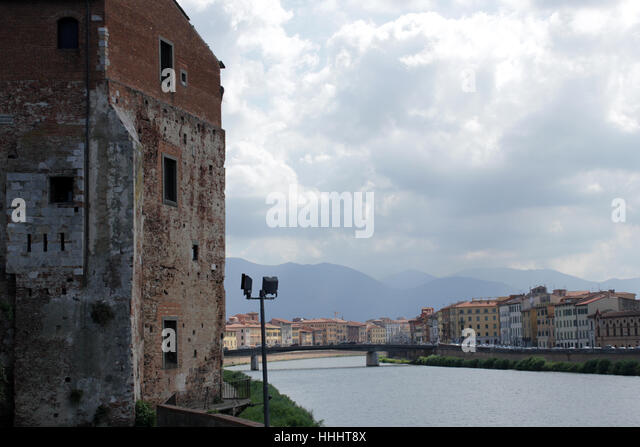 city, town, tuscany, fortress, pisa, italy, chateau, castle, tower, city, town, - Stock Image