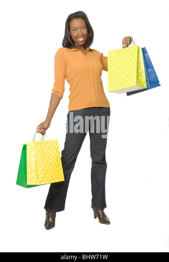 Attractive woman with colorful shopping bags. - Stock Image