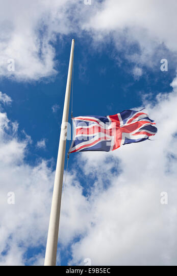 The Union Flag at half-mast - Stock Image